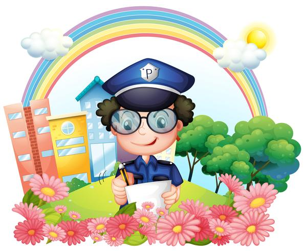 A policeman writing near the flowers