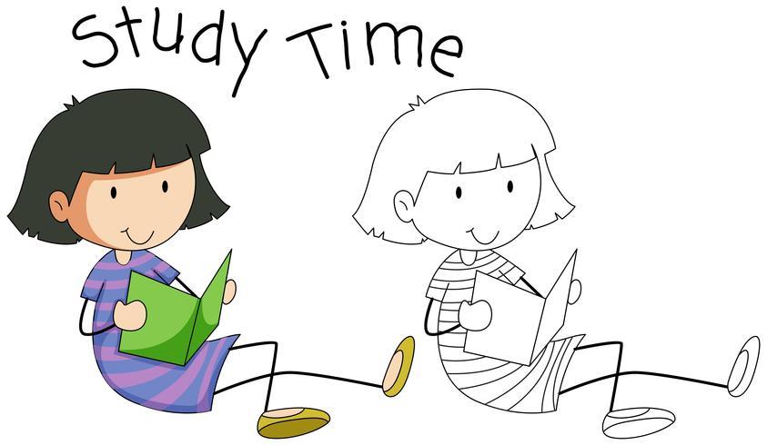 Doodle girl character study vector