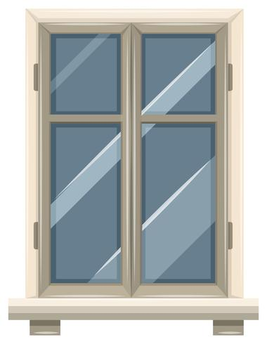 Glass window with white frame vector