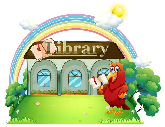 Un perroquet rouge lisant devant la bibliothèque