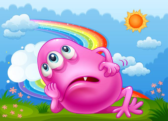 A tired pink monster at the hilltop with a rainbow in the sky vector