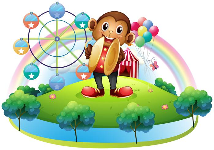 En apa med ett pariserhjul och ballonger på baksidan