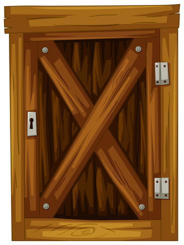 Wooden door on white background