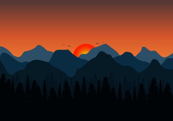 Fondo de naturaleza de las montañas. Fondo del paisaje de la puesta del sol y silueta del bosque. ilustración vectorial