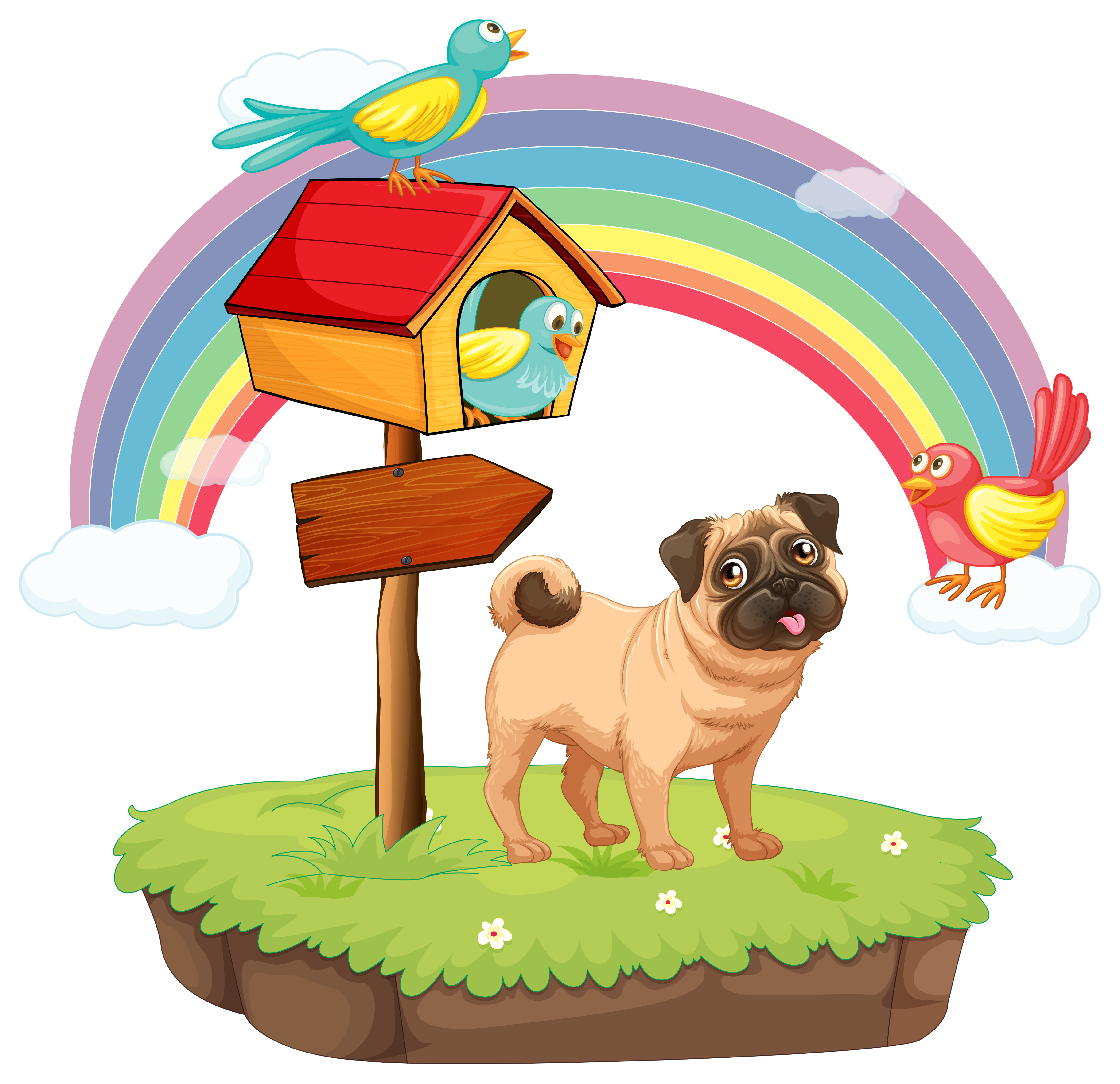 Dog and rainbow Vector - Download Free Vector Art, Stock ...