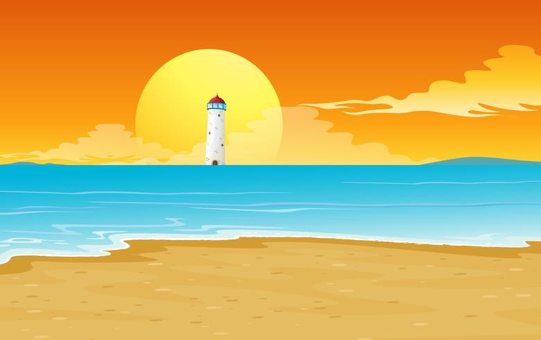 a light house and sun