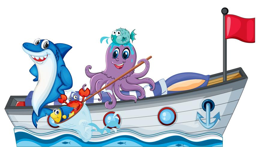 Sea creatures riding on a boat with flag vector