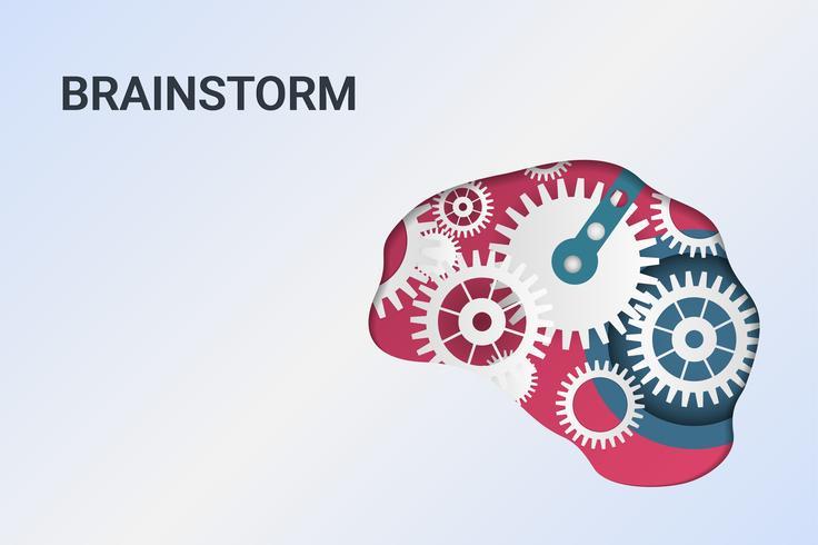 Brainstorming kreative Idee. Innovation und Lösung. Menschlicher Kopf mit Zahnrädern. Kopf denken.