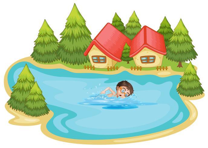 Een jongen die bij de rivier met pijnboombomen zwemt