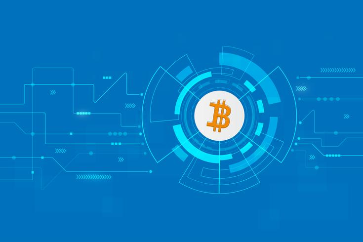 Abstrakte bitcoin Kryptowährung blockchain Technologie Hintergrund-Illustration