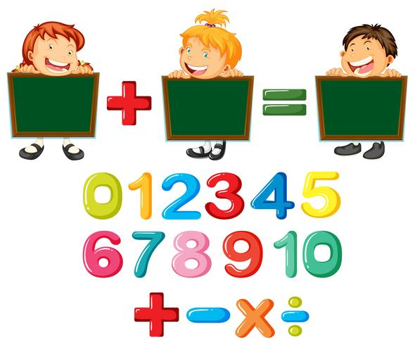 Happy children and numbers