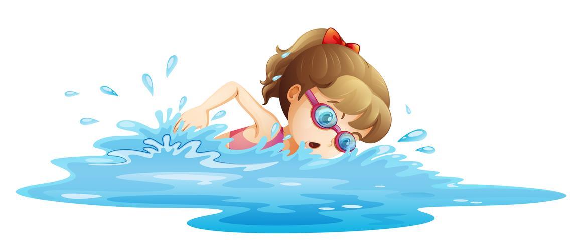 Una niña con un traje de baño rosa nadando.