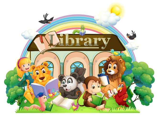 Djur läser framför biblioteket