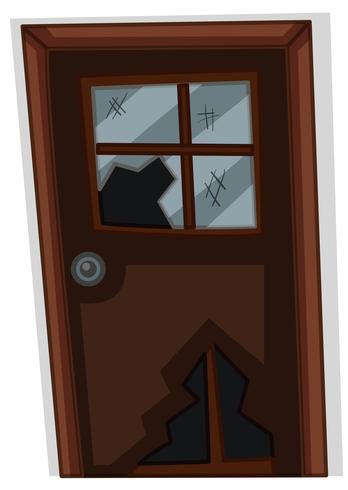 Porta marrone con finestra rotta