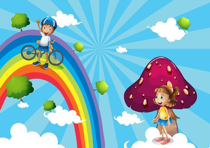Un garçon fait du vélo dans les arcs-en-ciel vecteur