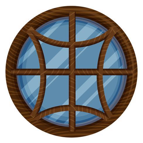 Rundes Fenster mit Holzrahmen