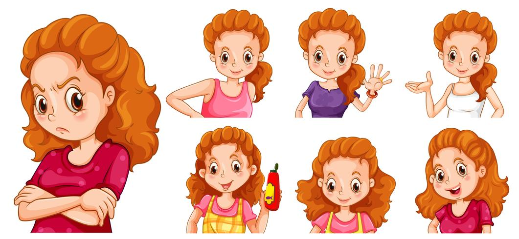 Woman with different actions vector