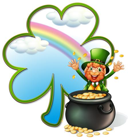 A rich man with a pot of gold coins vector