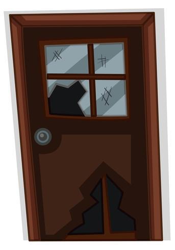 Wooden door with broken glass vector