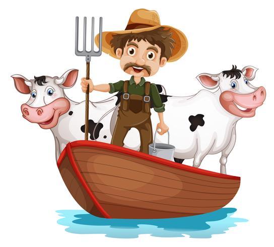 Una barca con un uomo e due mucche