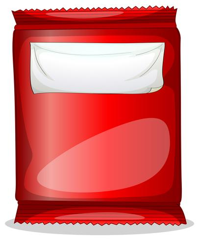 Um pacote vermelho com um rótulo vazio