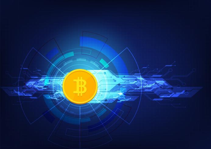 Illustrazione crypto astratta del fondo di tecnologia di blockchain di bitcoin del bitcoin