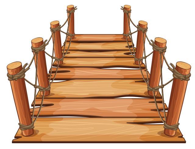 Puente de madera con cuerda adjunta