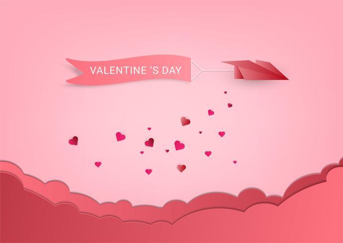 Konzept Liebe und Valentinstag. Origamipapierfläche, die über Wolke mit Herzstreuung auf Himmel fliegt. Papierkunststil.