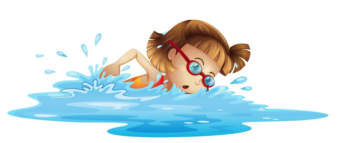 En liten tjej simning