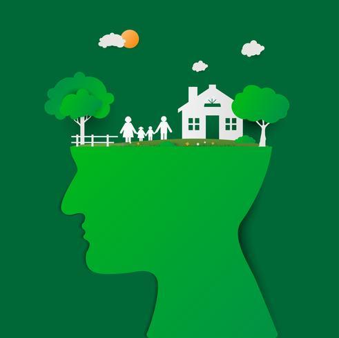 Menschlicher Kopf mit grünem Haus und glücklicher Familie. Kopf denkende Familie. Familie mit Kindern im Haus. Paar außerhalb neues Zuhause stehen. Papierkunst und Handwerksstil.