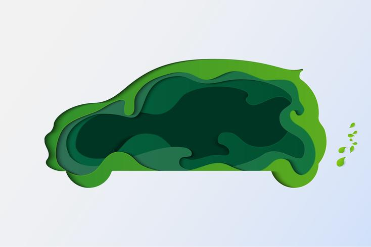 Concetto di auto eco-compatibile. Salva il pianeta Terra e la giornata mondiale dell'ambiente. stile di arte cartacea