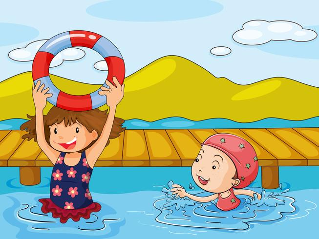 Miúdos que apreciam a água refrescante