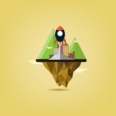 startup business project rocket flying above clouds. Flat Design Urban city Landscape with Mountain of environment, green energy. minimalistic style. vector