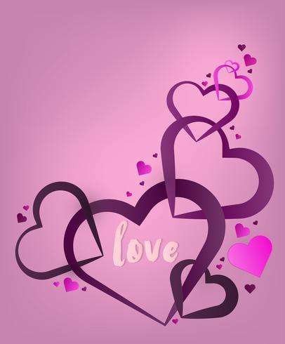 Valentines hart. Decoratieve hartachtergrond met valentijnskaartenharten. concept liefde en valentijn dag, papier kunststijl.