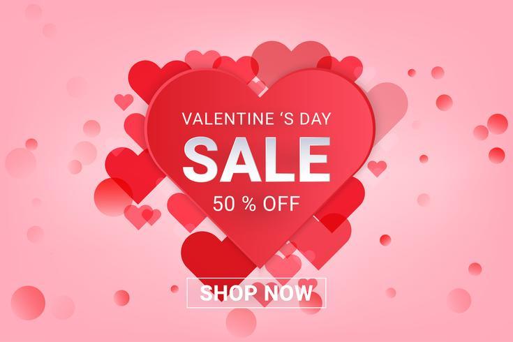 Fondo de venta de día de San Valentín. Concepto de amor y forma de corazón, estilo art papel.