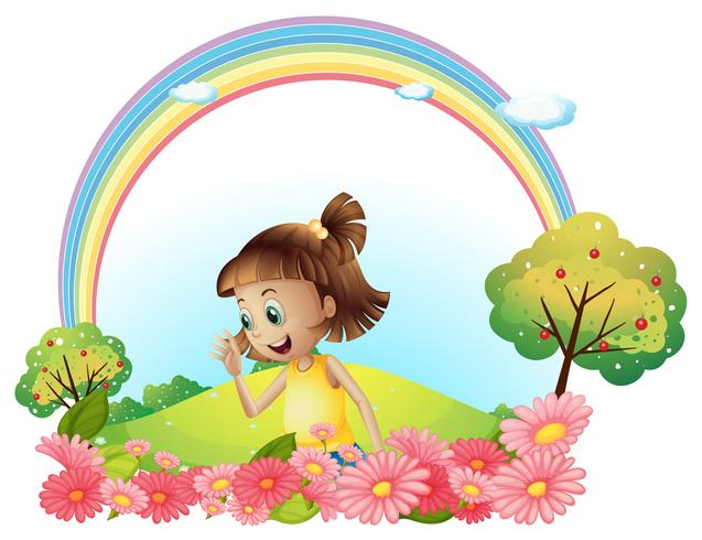 A smiling girl at the garden with pink blooming flowers vector