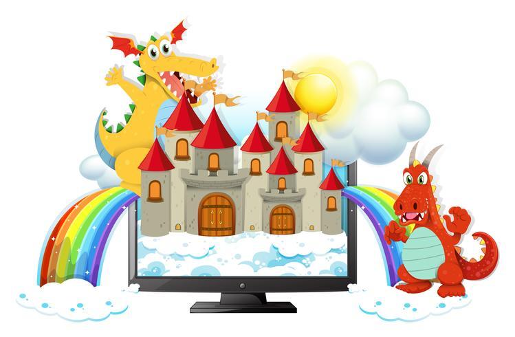Dragões e castelo na tela do computador