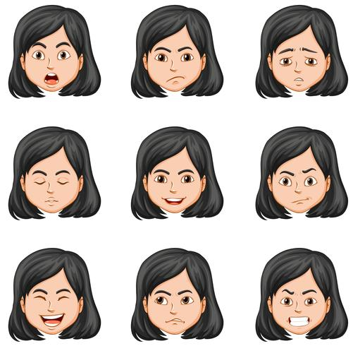 Woman and different facial expressions vector