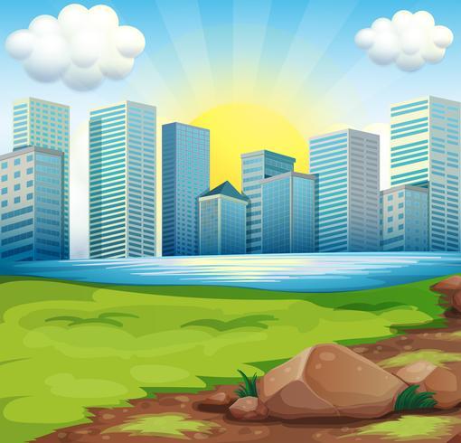 Una vista de los edificios altos bajo el sol brillante