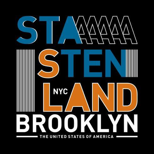 Diseño de tipografía NY Brooklyn, camiseta gráfica