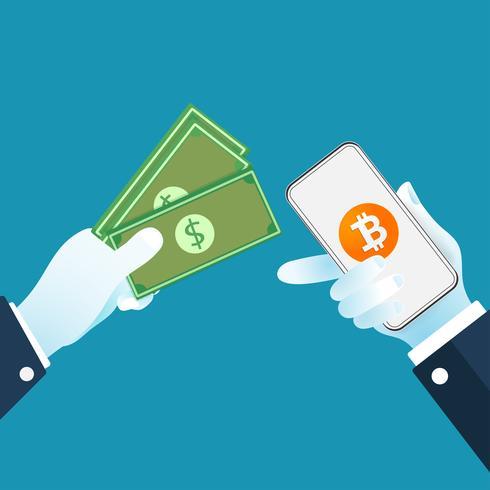 Dólares de cambio de criptomoneda Bitcoin. Concepto de intercambio de dinero digital.