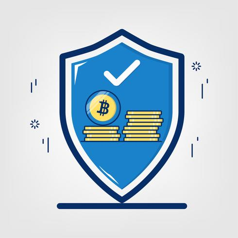 Cryptocurrency with blockchain network technology. Security bitcoin concept. vector