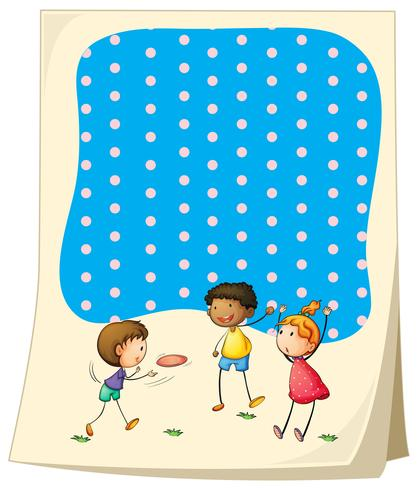 Ontwerp van het papier met kinderen frisbee spelen