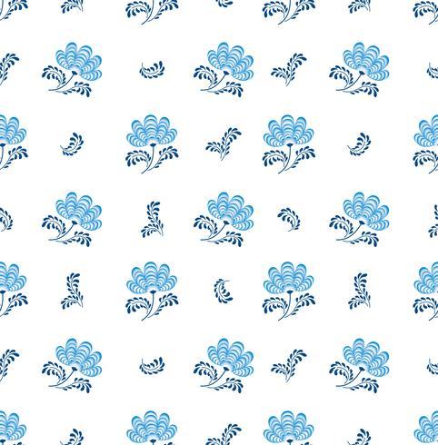 Redemoinho-padrão floral sem emenda. Flourish decorativo no estilo russian sobre o fundo branco.