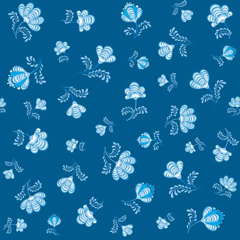 Swirl floral seamless pattern. Ornamental flourish in russian style over blue background.