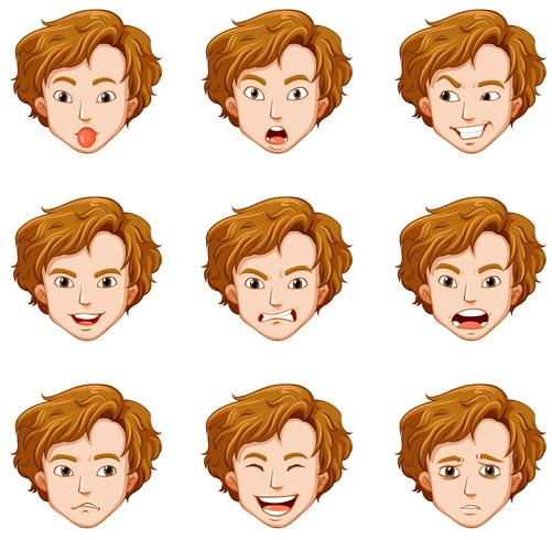 Man with different expressions on his face vector