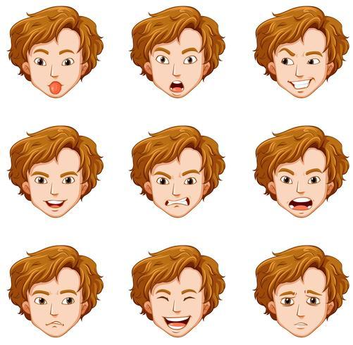 Man med olika uttryck på hans ansikte vektor