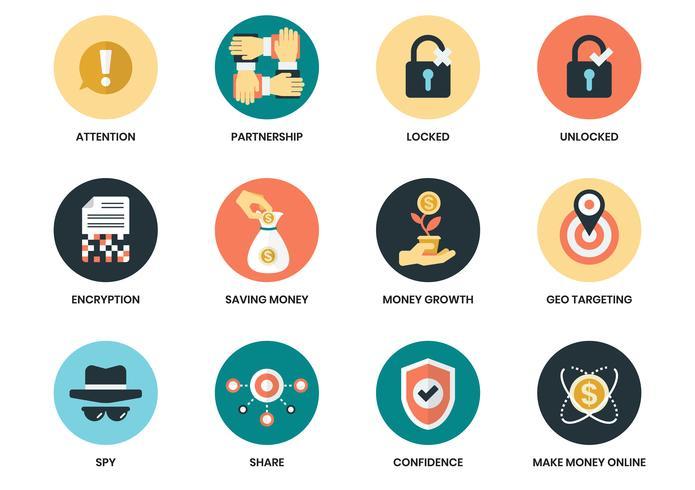 Iconos de negocios establecidos para el cartel de negocios vector