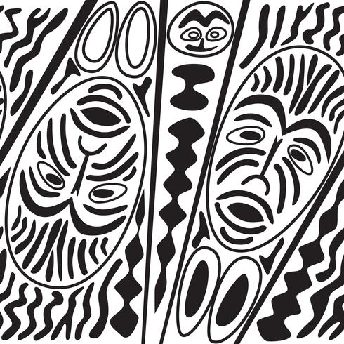Ethnic seamless pattern, tribal style. African mask tiled background.