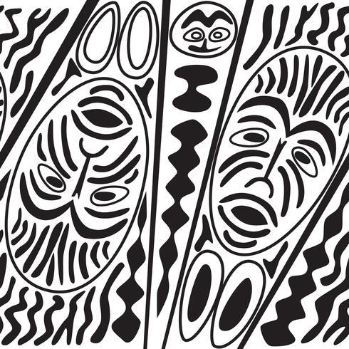 Padrão sem emenda étnica, estilo tribal. Máscara africana telhada fundo.